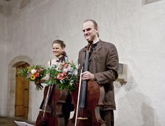 Czech Cellist Anna Brikciusová and Czech Cellist František Brikcius; concert J. S. BACH: CELLO SUITES; Festival Brikcius 2015 - The 4th Chamber Music Concert Series at the Stone Bell House in Prague #Bach330. Photo: Alina Bogdana Mihai. http://Festival.Brikcius.com