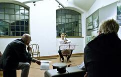 Czech cellist Anna Brikciusová and Czech poet Jan Suk; poetry reading POETRY DAY FESTIVAL - KOLIBŘÍ ÚSMĚV, Petřín Lookout Tower; Festival Brikcius - the 4th Chamber Music Concert Series at the Stone Bell House in Prague #Bach330. Photo: Alina Bogdana Mihai. http://Festival.Brikcius.com