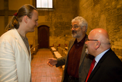 http://www.Brikcius.com - Czech Cellist František Brikcius, Leo Pavl�t: head of the Jewish Museum in Prague & Jan Munk: head of the Memorial Terez�n - Discussion before concert MAKANNA - 110th anniversary of the birth of the Jewish writer Jiř� Weil (Jiř� Weil, Irena Kos�kov�, Sir Tom Stoppard, V�clav Havel, Jan Talich, Jan Židlick�, Talichův komorn� orchestr and František Brikcius); (Convent of St Agnes of Bohemia in Prague, 2010, Photo Marek Malůšek).